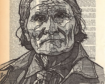 Geronimo portrait on a Dictionary Page