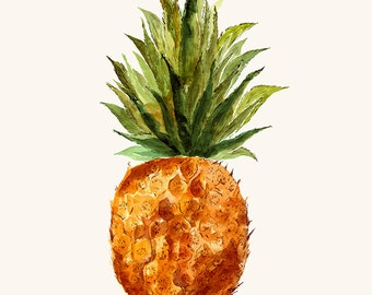 PINEAPPLE brown green in WATERCOLOR  technique POSTER. Fine art prints giclee rag  or Canvas. Print for living room or dinner room.