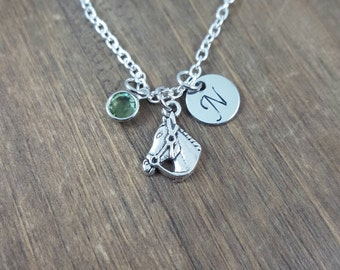 Personalized Horse Necklace - Hand stamped Monogram Horse Necklace - Initial, Birthstone Necklace - Horse Lover Necklace - Party Favor