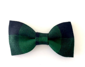 Navy and Green Plaid Bow Tie, Navy and Green Tartan Bow Tie, Bow Tie, Tartan Bow Tie, Navy Bow Tie, Plaid Bow Tie, Christmas Bow Tie