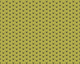 Lost & Found Halloween by Riley Blake - Spiders Green - Cotton Woven Fabric