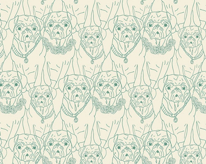 Joie de Vivre by Art Gallery Fabrics - Pug Ville Vert - Cotton Woven Fabric