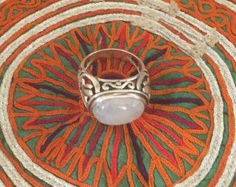 Vintage Moonstone Ring Sterling Silver Handmade Vintage Ring-Ethnic-Hippy-Gypsy