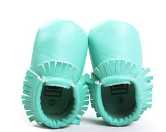 Mint Leather Moccasins