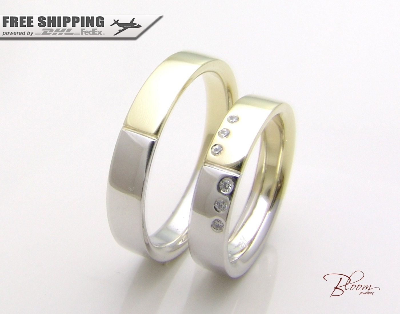 Gold Wedding Rings Set 14K Solid Gold Couples Ring Flat