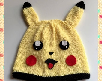 Knitting Pattern Pikachu Hat inspired by Pikachu Pokemon