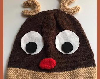 Reindeer Hat Knitting Pattern