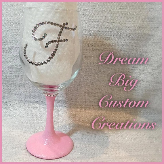 Hand painted bling and glitter initial wine glass by for Painted wine glasses with initials