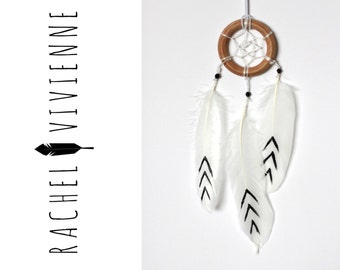 2 Inch Simple Wood Ring White With Black Aztec Arrow Dreamcatcher Car Accessory