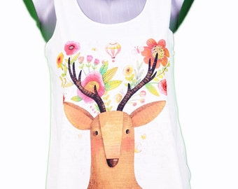 top deer - illustration / / deer tank-top