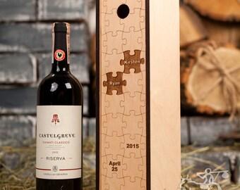 Personalized Wine Box, Custom Puzzles, Wood Wine Box, Keepsake Box, Bottle Case, Wedding Capsule, Weddings, Bride and Groom Gift