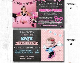 minnie first birthday invitation girl, minnie mouse birthday photo invite, minnie mouse first birthday invitations
