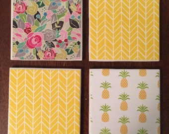 Pineapple Floral Coaster Set of 4