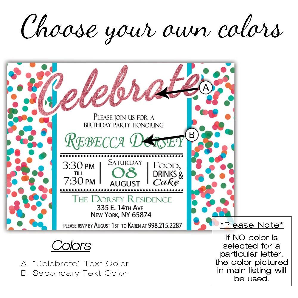 DIY Birthday Invitations Printable, Bright Confetti Kids Birthday ...