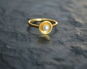 Pearl Ring Stacking Ring Promise Gift Birthday Gift Gold Ring Elegance Jewel Anniversary Gift Birthday Jewelry Gift for her Made from Greece