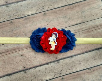 Disney Princess Snow White headband with shabby flower on elastic band for baby, toddler and adult