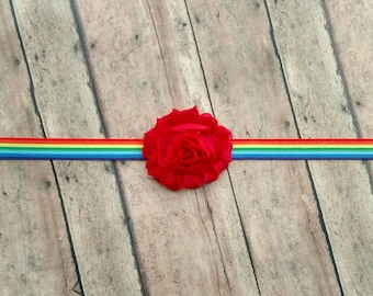 Rainbow and multi color shabby flower elastic headband for baby, toddler and adult