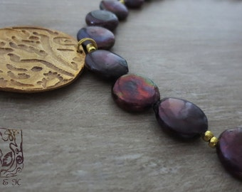 Elegant Persian letter design necklace , Copper with precious black pearls , Artisan original by SayehART