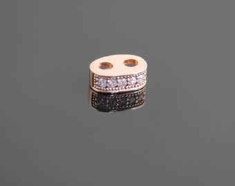 9ct Rose Gold Pave set with Cubic Zirconias with 2mm hole