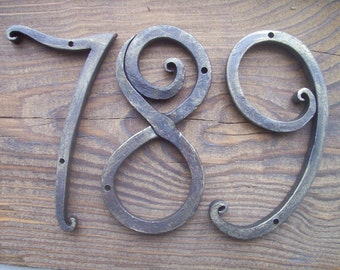 Wrought House Number /Iron House Numbers 5 inches/home address/ Metal house number/Address numbers/Sign Flat Room Number /Rustic decor