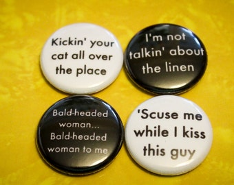 Misheard Lyrics Pack 2 - 1 Inch Pin Back Buttons or Magnets