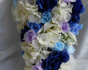 Cascade Bride bouquet all Lavender , blue and Ivory roses and hydrangeas  2 pieces