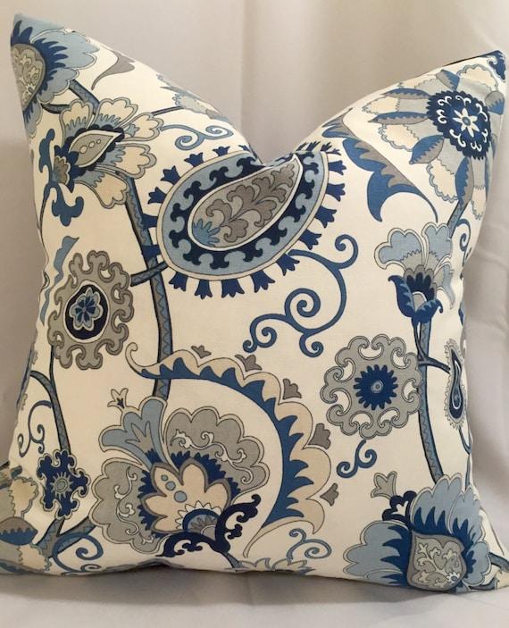 Indigo Blue and Gray Pillow Indigo Decorative Pillow Indigo
