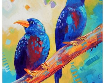 "Two Birds - Original colorful traditional acrylic painting on paper 8.5""x11"""