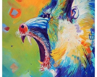"Yawning Baboon - Original colorful traditional acrylic painting on paper 8.5""x11"""