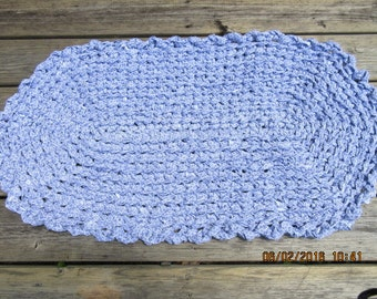 Crocheted rag rug, light purple and white.  Measures 20 by 36. Washable   JW108  Shipping included.