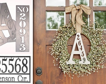 Custom Home House Number Address Monogram Wall Sign- Letter and Number Address Plaques Metal Custom