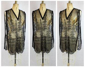 Vintage 1920's Beaded Dress Flapper Original 1920's Tule Beaded Tabard 20's art deco crewel embroidered true vtg