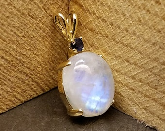 Rainbow Moonstone and Natural Blue Sapphire Pendant in 100% Eco-Friendly Recycled 10K Yellow Gold - June Birthstone