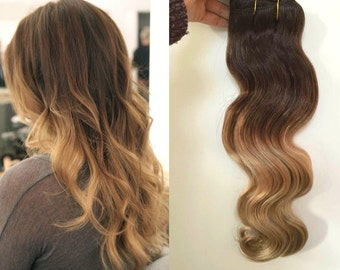 "14"" Full Head  Clip-in Dip Dye Ombre 70% Real Human Hair Extensions Dark Brown to Sandy Blonde"