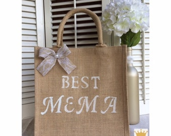 Jute Tote, Mothers Day Gift, Best Mema, Jute Bag, Gift for Mema, Gift for Grandma, Best Gift For Women, Gifts for Mom, Gifts for Her