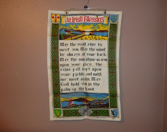 1 vintage 20 x 32 An Irish Blessing -- made in Ireland