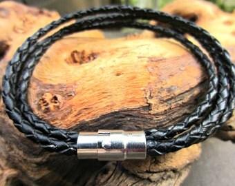 Leather Bracelet, Mens Bracelet, Braided Leather Bracelet, Magnetic Clasp, Black or Brown Triple Wrap Braclet