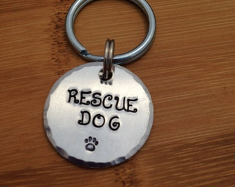 Medium Pet Tag - Rescue Dog with Paw Print - 1 inch Custom Pet ID Tag - Handstamped - Dog ID Tag - Cat ID Tag - Name and Phone Number
