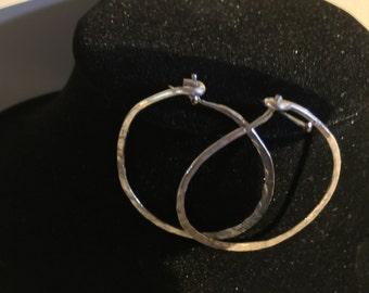 handmade sterling hammered hoops
