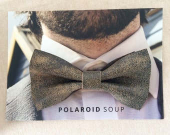 Black Distressed Leather Bowtie