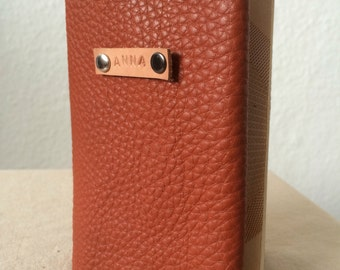 Personalised Red/Orange Leather Passport Cover