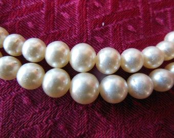 Vintage Faux Pearl Two Strand Necklace with Rhinestone Clasp
