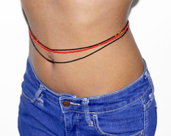 RICCI - 3 Strands Waist Bead in Black and Red