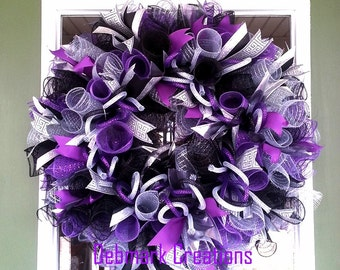 Everyday wreath, Front door wreath, Winter wreath, New Year wreath, Purple, black, silver wreath, Mesh wreath