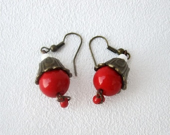 bright red dangle earrings bells jewelry cute earrings everyday long earrings red jewelry gift for her valentine's gift holiday jewelry