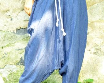 Blue 100% Linen pants/Loose pants/Harem pants/Summer maxi pants/Woman plus size pants/Yoga pants/Handmade trousers/comfortable pants/P1502