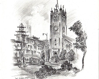St Mary's Church and Cable Car Rush on California St. from Alec Stern. in 1959