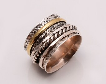 925 Solid Sterling Fine Silver Copper-Brass   Ring