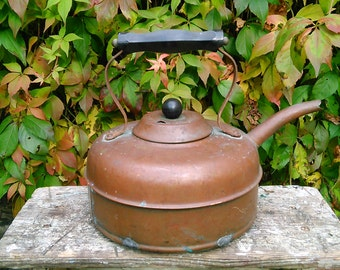 Vintage Linaglow Heatmaster Copper Kettle Art Deco 1930's Rustic Stove Top Kettle Farmhouse/ Cottage Kitchen Hearth Decor Made in England