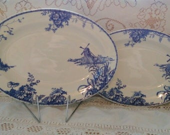Grindley Serving Platters The Lahaya Pair of Graduated Ironstone Platters Antique Blue & White 1920's Rare Made in England Period Prop